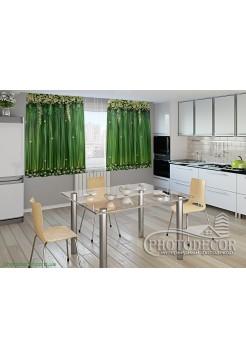 """Фото шторы для кухни """"Ламбрекены из цветков"""""""