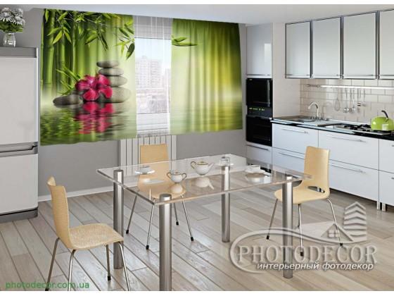 """Фото шторы для кухни """"Листья бамбука"""""""