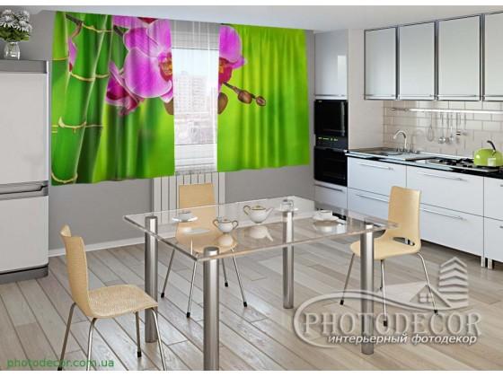 """Фото шторы для кухни """"Малиновая орхидея и бамбук"""""""