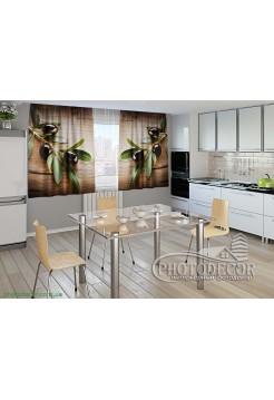"""Фото шторы для кухни """"Маслины"""""""