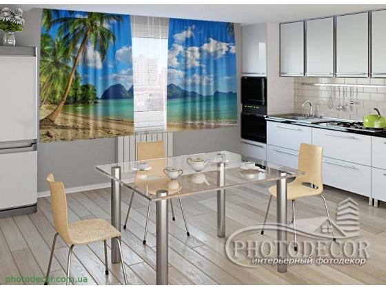 """Фото шторы для кухни """"Пляж"""""""