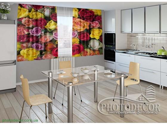 """Фото шторы для кухни """"Разноцветные розы"""""""