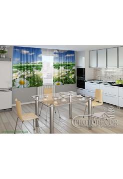 """Фото шторы для кухни """"Ромашки и роса"""""""