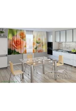 """Фото шторы для кухни """"Розы невесты"""""""