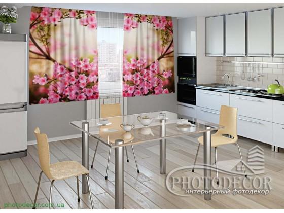 """Фото шторы для кухни """"Сакура"""""""