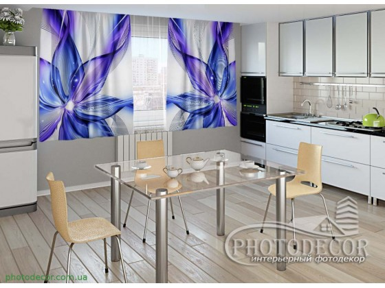 """Фото шторы для кухни """"Синяя абстракция"""""""