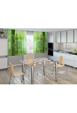 """Фото шторы для кухни """"Зеленый бамбук"""""""
