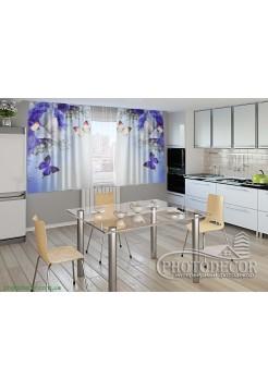 """Фото шторы для кухни """"Ирисы и бабочки"""""""