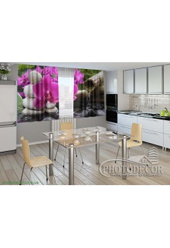 """Фото шторы для кухни """"Орхидея на камнях"""""""