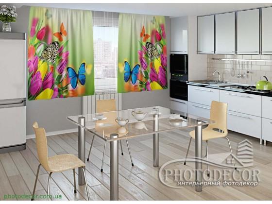 """Фото шторы для кухни """"Тюльпаны и бабочки"""""""