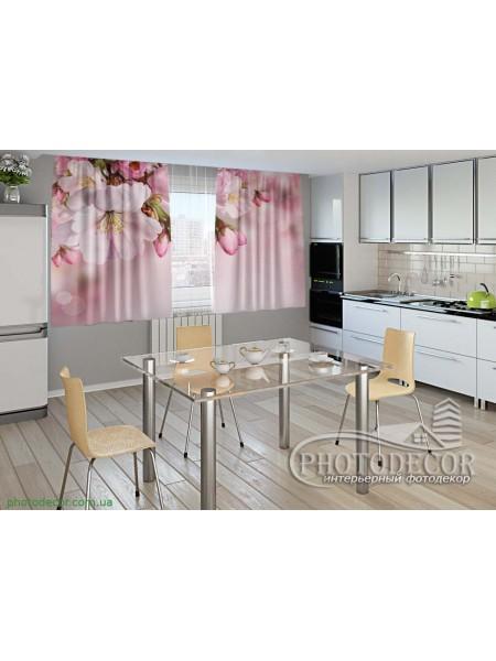 """Фото шторы для кухни """"Веточка весны"""""""