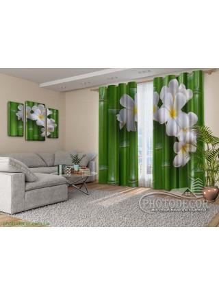 """3D ФотоШторы """"Бамбук и цветы"""""""