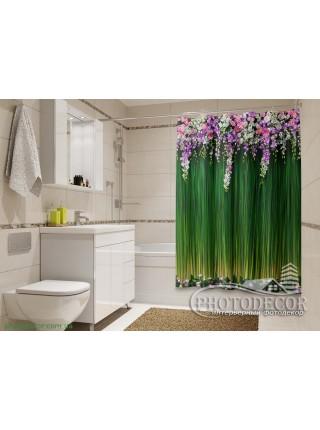 """3D ФотоШторы """"Ламбрекен из цветов. Зеленые"""""""