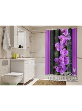"""3D ФотоШторы """"Орхидеи на черном"""""""