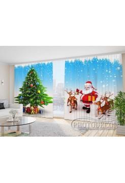 """Новогодние Фото Шторы """"Дед Мороз с оленями"""""""