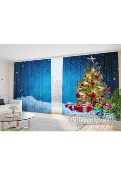 """Новогодние Фото Шторы """"Елка в снегу с подарками"""""""