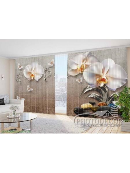 """Фото Шторы  для зала """"3D Орхидеи и бабочки"""""""