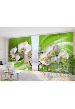 """Фото Шторы  для зала """"3D Орхидеи на зеленом фоне"""""""