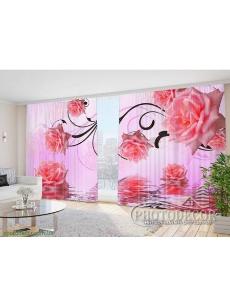 """Фото Шторы  для зала """"3D розовые розы 1"""""""