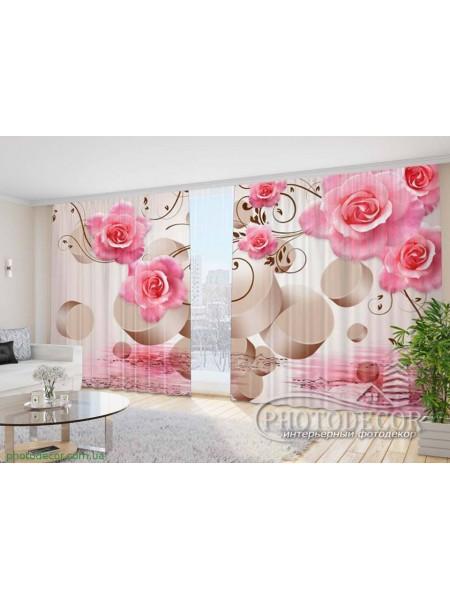 """Фото Шторы  для зала """"3D розовые розы"""""""
