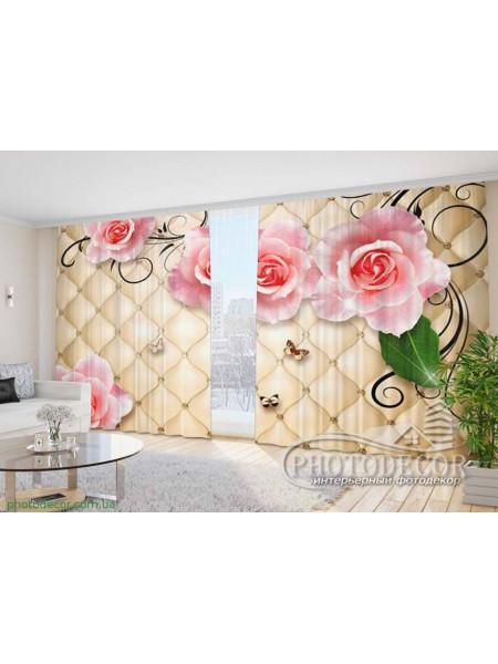 """Фото Шторы  для зала """"3D Розы и бабочки"""""""