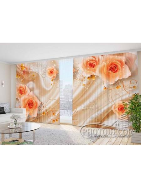 """Фото Шторы  для зала """"3D Розы на ткани"""""""