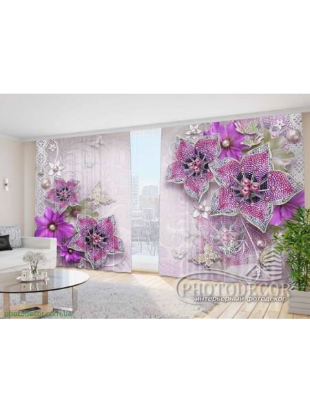 """Фото Шторы  для зала """"3D сиреневые цветы"""""""