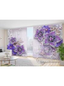 """Фото Шторы  для зала """"3D фиолетовые цветы"""""""