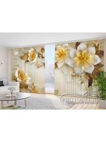 """Фото Шторы  для зала """"3D цветы и бабочки 1"""""""