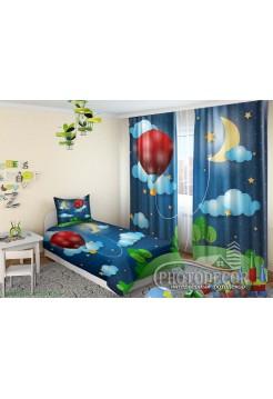 """Детские 3D Фото Шторы """"Воздушный шар в облаках"""""""