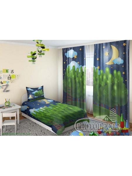 """Детские 3D Фото Шторы """"Деревья и звезды при луне"""""""