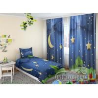 """Детские 3D Фото Шторы """"Месяц и звезды над поляной"""""""