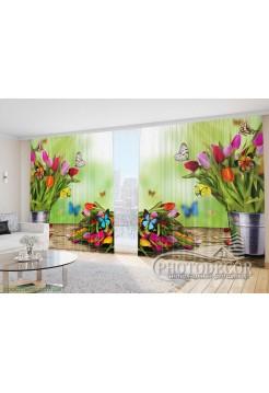 """Фото Шторы  для зала """"Букеты тюльпанов с бабочками"""""""