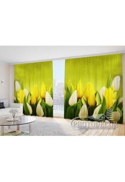 """Фото Шторы  для зала """"Желтые с белыми тюльпанами"""""""