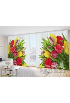 "Фото Шторы  для зала ""Разноцветные тюльпаны"""