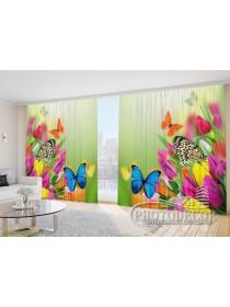 """Фото Шторы  для зала """"Тюльпаны и бабочки"""""""