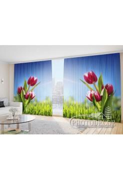 """Фото Шторы  для зала """"Тюльпаны на траве"""""""