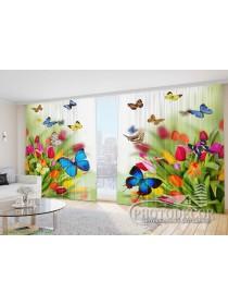 "Фото Шторы  для зала ""Тюльпаны с бабочками"""
