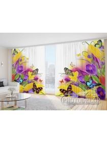 """Фото Шторы  для зала """"Тюльпаны с подснежниками и бабочками"""""""
