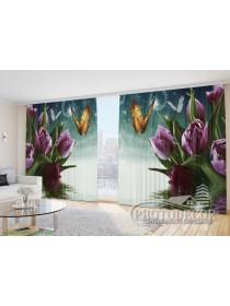"""Фото Шторы  для зала """"Фиолетовые тюльпаны с бабочками"""""""