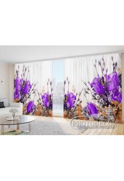 """Фото Шторы  для зала """"Фиолетовые тюльпаны с котиками"""""""