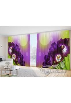 "Фото Шторы  для зала ""Фиолетовые тюльпаны"""